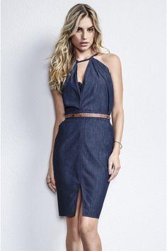 Vestido Jeans Com Fenda Frontal E Transpasse No Decote | Vestidos | Feminino | DZARM.