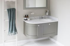 Burlington Bathrooms Wall Hung 100 Curved Corner Vanity Unit Right Hand - Dark Olive and Minerva Carrara white worktop with integrated white basin Visit us at www.ie to view our Burlington range :) Bathroom Sink Vanity Units, Corner Vanity Unit, Corner Sink Bathroom, Small Bathroom Vanities, Bathroom Wall, Bathroom Ideas, Corner Unit, Bathroom Inspo, Small Bathrooms