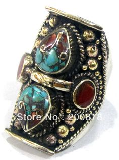 R124 Nepal Tibetan brass inlaid colorful stone big man Thumb Ring,superwide Mantra finger Rings,Mix order-in Rings from Jewelry on Aliexpress.com | Alibaba Group