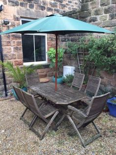 Hardwood #(teak?) garden furniture: table, 6 #chairs, umbrella and #stand,  View more on the LINK: 	http://www.zeppy.io/product/gb/2/131625500186/