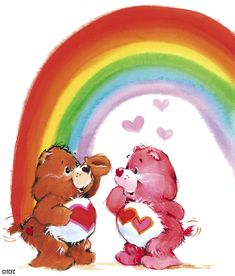 Care Bears: Tenderheart and Love-a-Lot Bear Under a Rainbow