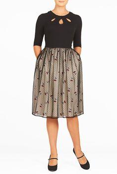 I <3 this Mixed media polka dot with floral print dress from eShakti