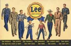 Linen advertising postcard for Lee Work Clothes. Linen postcards date from 1930 to This card was produced by the Curt Teich & Company. Vintage Tags, Vintage Denim, Vintage Postcards, Vintage Style, Lee Denim, Lee Jeans, Denim Jeans, Overalls, Denim Overalls