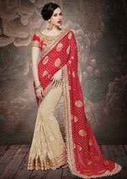 Wedding Wear Red Georgette Embroidered Work Saree