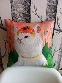 handmade jungle cat cushion by Miss Tiny @Etsy HelloMissTiny £28