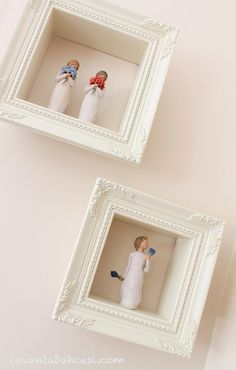 Willow Tree~Surrounded By Love, Forget Me Not & Lavender Grace. Lovely idea for displaying Willow Tree or any other figurines. Willow Figures, Willow Tree Figuren, Willow Tree Angels, Paper Mache Sculpture, Family Wall, Displaying Collections, Diy Wall Art, Creative Home, Frames On Wall