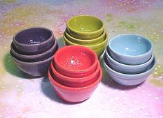 PlayScale Nesting Bowl Set of 3 Aqua Turquoise Miniature Pottery Wheelthrown