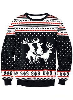 c1346cb8d3a1 Christmas Elk Black Long Sleeve Jacquard Casual Plus Size Sweatshirts  Material  Polyester Pattern Type  Jacquard