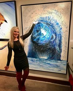 """Just me and """"Baloo"""" bear hanging out in Park City over the holidays! This Big, Blue, & Beautiful Original Bear Painting is now available at Park City Fine Art gallery located on beautiful Main Street in downtown Park City, Utah! Painting Gallery, Fine Art Gallery, Abstract Animal Art, Bear Paintings, Bear Photos, Graffiti, Wildlife Art, Artist Painting, Love Art"""