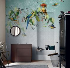 Wallpaper Model VALERY'S PARROT Designed by Valeria Zaltron for Collection 13 |  © London Art 2013  www.londonartwallpaper.com www.londonart.it