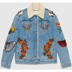 Gucci Embroidered Denim Jacket (14.980 BRL) ❤ liked on Polyvore featuring outerwear, jackets, tops, coats, denim, leather & casual jackets, ready-to-wear, women, embroidered jean jacket and embroidered jacket
