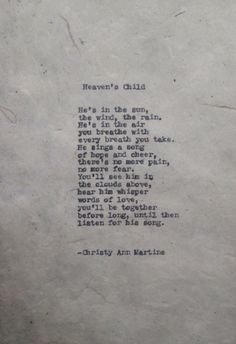 Death of Baby Boy Losing a Child Sympathy Poem Heaven's Child Poem by Christy Ann Martine
