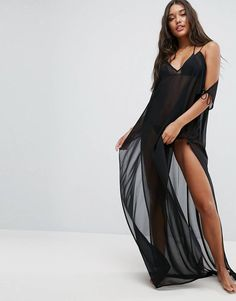 Browse online for the newest ASOS DESIGN Chiffon Maxi Beach Caftan with Cold Shoulders styles. Shop easier with ASOS' multiple payments and return options (Ts&Cs apply). Asos Long Dresses, Prom Dresses, Chiffon Maxi, Beach Kaftan, Color Negra, Beachwear, Swimwear, Clothes, Fashion Online