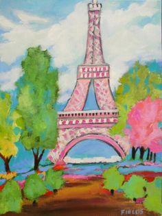 Eiffel Pink - acrylic by ©Karen Fields