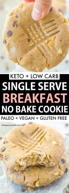 Keto Single Serve Cookie requiring NO baking and ready in 5 minutes! Low carb s - Keto Breakfast - Ideas of Keto Breakfast - Keto Single Serve Cookie requiring NO baking and ready in 5 minutes! Low carb sugar free dairy free and PACKED with protein! Easy Baking Recipes, Healthy Baking, Gourmet Recipes, Low Carb Recipes, Coconut Recipes, Pork Recipes, Vegetarian Recipes, Recipies, Keto Cookies