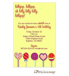 Lollipop Invitation
