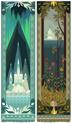 """Disney """"Frozen"""" 2013 concept art by Brittney Lee of tapestries and rosemaling designs"""