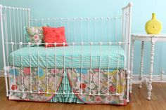 Bumperless Baby Bedding -  Garden Floral Crib Bedding Set on Etsy, $320.00