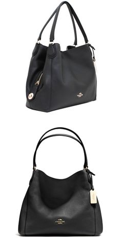 NWT COACH Edie Shoulder Bag 31 Pebble Leather Black/Light Gold $350 $259.95