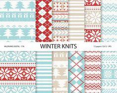 Pullover digitale Papier Winter Strick blau von ValerianeDigital