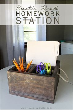 Build a wood crate to use as a homework station! Helps stay organized and looks GORGEOUS!