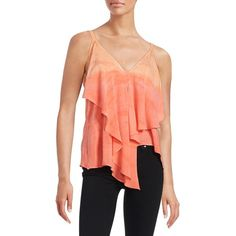 Red Haute Ruffled Cami Top (2 240 UAH) ❤ liked on Polyvore featuring tops, coral, red top, ruffle tank, v-neck camisoles, sleeveless tank tops and v-neck tank