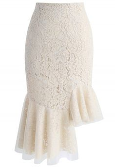Concinnity in Lace Asymmetric Frill Hem Skirt in Beige
