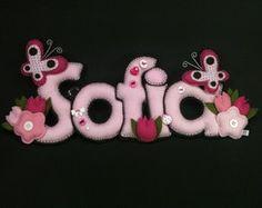 Nome Em Feltro Sofia Borboletas e flores