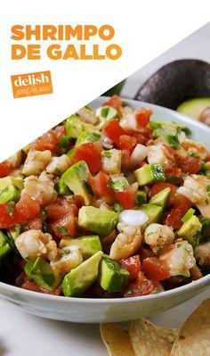 Shrimpo de Gallo Once you put shrimp in pico de gallo, you'll never go back to the plain stuff. Get the recipe at . Shrimp Appetizers, Shrimp Dishes, Appetizer Recipes, Seafood Recipes, Mexican Food Recipes, Cooking Recipes, Healthy Recipes, Shrimp Salad Recipes, Chimichurri