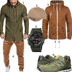 Street-Style mit olivgrünes Amaci&Sons Hoodie, Casio G-Shock Uhr, New Balance Schuhen, beiger Flexfit Cap, braunen Betterstyles Sweatpants und Solid Jacke.