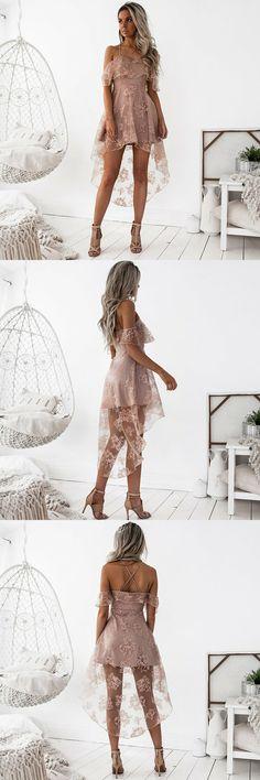High Low Spaghetti Straps Dresses,Blush Lace Ruffles Dresses,Short Homecoming Dresses