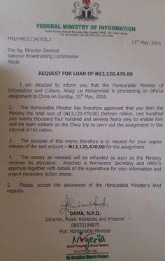 Nigeria's Information Minister Lai Mohammed Takes Loan Of #13.1million From NBC To Pay For His China Trip - http://www.tweet.ng/2016/05/nigerias-information-minister-lai-mohammed-takes-loan-of-13-1million-from-nbc-to-pay-for-his-china-trip.html