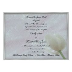 White Tulip and Brocade Wedding Invitation