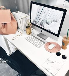 Desk vibes via the awesome and creative @tessalindsaygarcia who's rocking the new white marble journal. You can grab yours and make your desk look like hers.