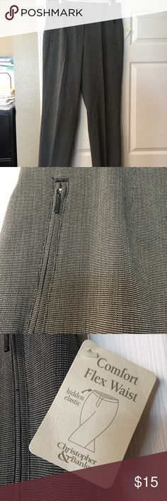 NWT Tweed Slacks Black and gray tweed slacks. Front pockets with zippers. 17 1/2 in across waist. 32 in inseam. Christopher & Banks Pants Trousers