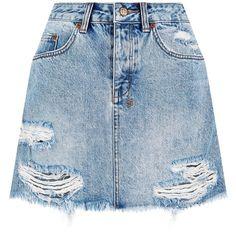 Ksubi Mini Moss Denim Skirt (11,045 INR) ❤ liked on Polyvore featuring skirts, mini skirts, faldas, distressed skirt, ksubi, denim mini skirt, summer skirts and ripped denim skirt