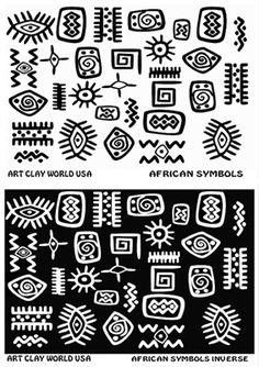 Nearly Indestructible re-usable texture stamp. Great for designing and creating unique textured designs on clay crafts (metal clay polymer clay glass clay ceramic clay etc) food-making products (cake fondant etc. African Symbols, African Tribal Patterns, Marquesan Tattoos, Art Africain, Africa Art, Symbol Design, African Textiles, African Design, Aboriginal Art