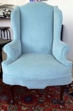 SOLD-Baby Blue Peacock Vintage Wing Back Chair with by Element20
