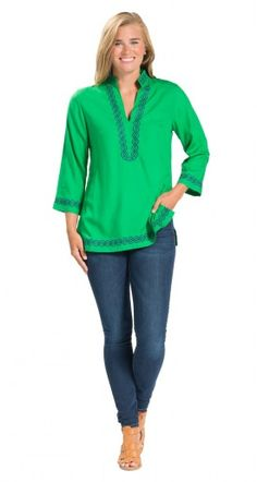 You'll love these tunic tops, sleeve shirts, sleeveless resort wear tank tops, & embellished embroidered blouses. 3 4 Sleeve Shirt, Embroidered Blouse, Shirt Jacket, Preppy, Fall Outfits, What To Wear, Green Tunic, Tunic Tops, Navy Green