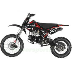 "APOLLO 125cc Dirt Bike with 4 Gears Manual Transmission, Kick Start, Big 17""/14"""