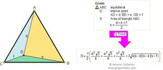 Geometry Problem 103. Equilateral Triangle Area, Interior Point, Heron.  Level: High School, College, Teaching, Math Education
