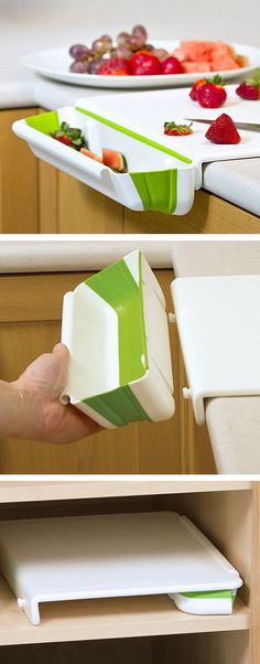 Cutting board with a collapsible bin on the side to catch the scraps // Genius, clever kitchen gadget! #product_design