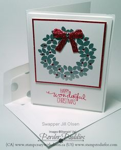 12 Weeks of Border Buddies Christmas - another great card we received at Founder's Circle.  www.stampstodiefor.com card stamped by Jill Olsen