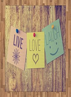 Live Laugh Love Area Rug by Ambesonne, Inspirational Wisdom Post-It Perks on Wooden Board Rustic Background Image, Flat Woven Accent Rug for Living Room Bedroom Dining Room, 5.2 x 7.5 FT, Multicolor