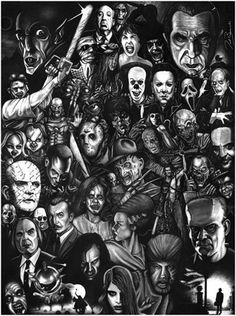 Monsters and Horror Movie Collage ~Halloween Arte Horror, Horror Art, Gothic Horror, Dark Beauty, Movie Collage, Collage Photo, Collage Art, Arte Punk, Soirée Halloween