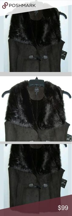 """New ZoZo black faux fur vest Length 22"""". Chest 18"""". Body & collar back 100% polyester. Collar face 84% acrylic/16% polyester. ZoZo  Jackets & Coats Vests"""