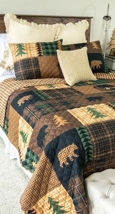 Bear Cabin Bedding: This Bear Quilt showcases a patchwork of plaid patterns with bear, cabin and tree accents – the perfect addition to your lodge or cabin. Rustic Quilts, Rustic Bedding, Cozy Cabin, Bedding Collections, Log Homes, Brown Bear, Plaid Pattern, Bedding Sets, Quilting Ideas