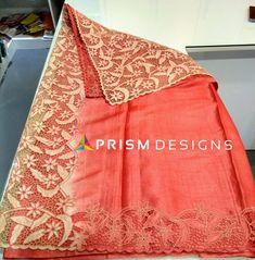 Full border twine cutwork on tussar silk dual shade saree. Cutwork Saree, Tussar Silk Saree, Cotton Saree, Beautiful Dress Designs, Beautiful Saree, Beautiful Dresses, Baby Girl Dresses, Baby Dress, Saree Embroidery Design