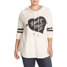 Melissa McCarthy Seven7 'Love Ya, Mean It' Hooded Sweatshirt (315 BRL) ❤ liked on Polyvore featuring plus size fashion, plus size clothing, plus size tops, plus size hoodies, plus size, plus size hoodie, sweatshirt hoodies, pink hoodie, women plus size tops and hooded sweatshirt