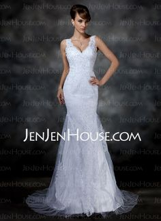 Wedding Dresses - $199.99 - Mermaid V-neck Sweep Train Satin Tulle Wedding Dress With Lace (002004597) http://jenjenhouse.com/Mermaid-V-Neck-Sweep-Train-Satin-Tulle-Wedding-Dress-With-Lace-002004597-g4597